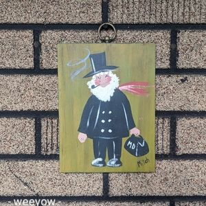 Vintage Hand Painted Doctor Painting on Wood MCM